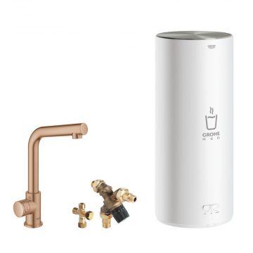 GROHE Red Mono kokendwaterkraan L-uitloop & 7 liter combi boiler, energielabel A, kinderbeveiliging, warm sunset geborsteld