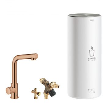 GROHE Red Mono kokendwaterkraan L-uitloop & 7 liter combi boiler, energielabel A, kinderbeveiliging, warm sunset