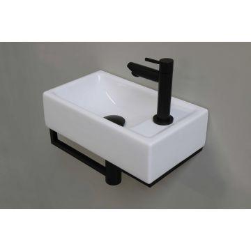 Sub fonteinset porselein 40x23 cm met kraangat rechts, kraan, designsifon, afvoerplug en bevestigingsmateriaal, glans wit/mat zwart