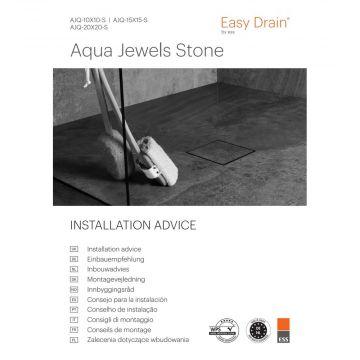 Easy Drain Aqua jewels vloerput 20x20 cm stone v.waterslot 50 tot 25 mm