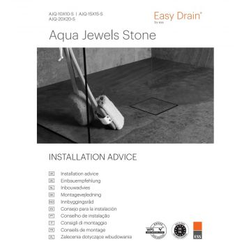 Easy Drain Aqua jewels vloerput 10x10 cm stone v.waterslot 50 tot 25mm