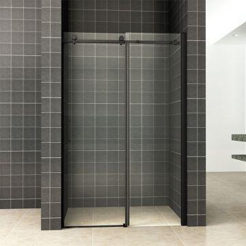 Wiesbaden schuifbare nisdeur 110x200 cm 2-delig met NANO-glas, matzwart
