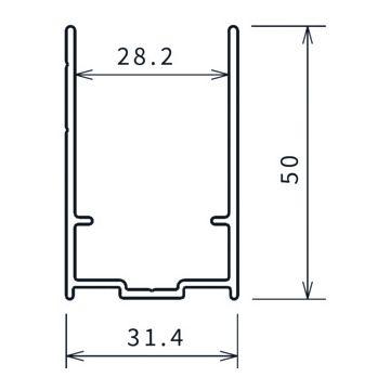 Novellini Young 2.0 verbredingsprofiel 50mm 198,4cm chroom