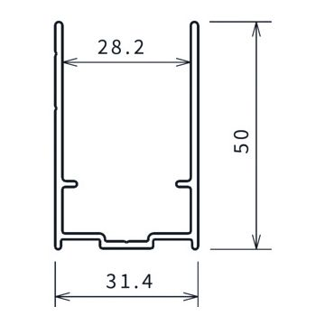 Novellini Young 2.0 verbredingsprofiel 50mm 198,4cm wit