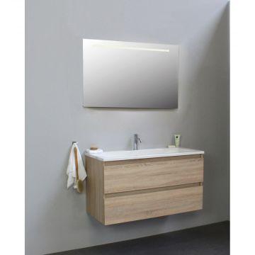 Sub Online onderkast met acryl wastafel 1 kraangat met spiegel met geintegreerde LED verlichting 100x55x46cm, eiken