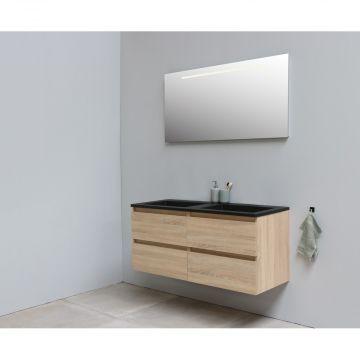 Sub Online onderkast met acryl wastafel slate structuur zonder kraangat met spiegel met geintegreerde LED verlichting 120x55x46cm, eiken