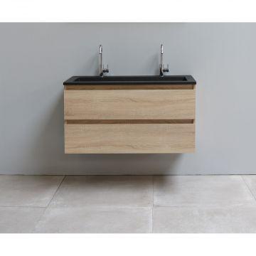 Sub Online flatpack onderkast met acryl wastafel slate structuur 2 kraangaten 100x55x46cm, eiken
