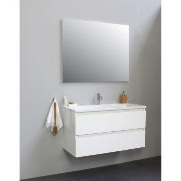 Sub Online flatpack onderkast met acryl wastafel 1 kraangat met spiegel 100x55x46cm, hoogglans wit
