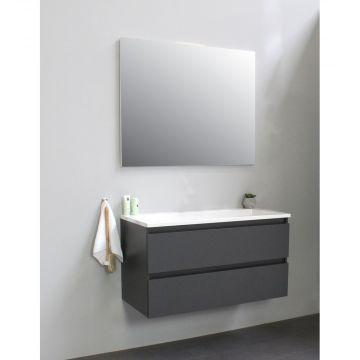 Sub Online flatpack onderkast met acryl wastafel zonder kraangat met spiegel 100x55x46cm, mat antraciet
