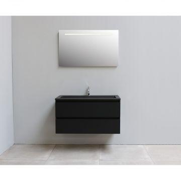 Sub Online flatpack onderkast met acryl wastafel slate structuur 1 kraangat met spiegel met geintegreerde LED verlichting 100x55x46cm, mat zwart