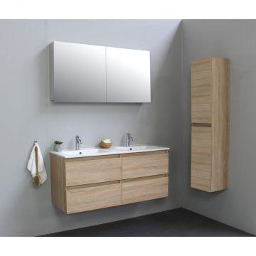Sub Online flatpack onderkast met porseleinen wastafel 2 kraangaten met 2 deurs spiegelkast grijs 120x55x46cm, eiken