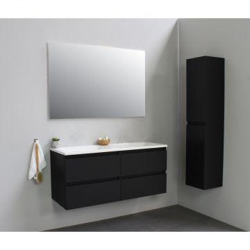 Sub Online flatpack onderkast met acryl wastafel zonder kraangat 120x55x46cm, mat zwart