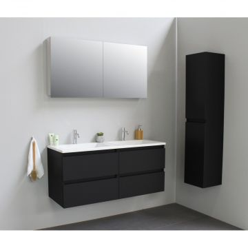 Sub Online flatpack onderkast met acryl wastafel 2 kraangaten met 2 deurs spiegelkast grijs 120x55x46cm, mat zwart