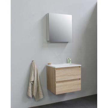 Sub Online flatpack onderkast met acryl wastafel zonder kraangat met 1 deurs spiegelkast grijs 60x55x46cm, eiken