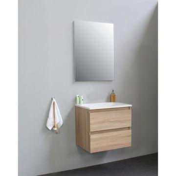Sub Online flatpack onderkast met acryl wastafel zonder kraangat met spiegel 60x55x46cm, eiken