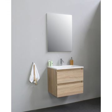 Sub Online flatpack onderkast met acryl wastafel 1 kraangat met spiegel 60x55x46cm, eiken