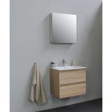 Sub Online flatpack onderkast met porseleinen wastafel 1 kraangat met 1 deurs spiegelkast grijs 60x55x46cm, eiken