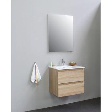 Sub Online flatpack onderkast met porseleinen wastafel 1 kraangat met spiegel 60x55x46cm, eiken