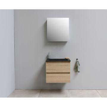Sub Online flatpack onderkast met acryl wastafel slate structuur zonder kraangat met 1 deurs spiegelkast grijs 60x55x46cm, eiken