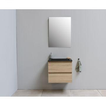 Sub Online flatpack onderkast met acryl wastafel slate structuur zonder kraangat met spiegel 60x55x46cm, eiken