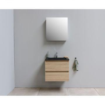 Sub Online flatpack onderkast met acryl wastafel slate structuur 1 kraangat met 1 deurs spiegelkast grijs 60x55x46cm, eiken