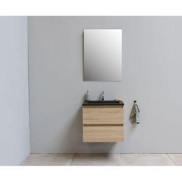 Sub Online flatpack onderkast met acryl wastafel slate structuur 1 kraangat met spiegel 60x55x46cm, eiken