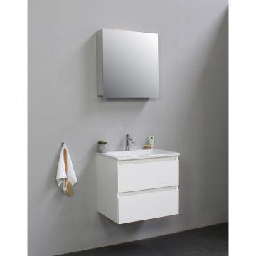 Sub Online flatpack onderkast met acryl wastafel 1 kraangat met 1 deurs spiegelkast grijs 60x55x46cm, hoogglans wit