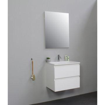 Sub Online flatpack onderkast met acryl wastafel 1 kraangat met spiegel 60x55x46cm, hoogglans wit