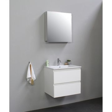 Sub Online flatpack onderkast met porseleinen wastafel 1 kraangat met 1 deurs spiegelkast grijs 60x55x46cm, hoogglans wit