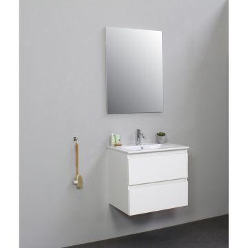 Sub Online flatpack onderkast met porseleinen wastafel 1 kraangat met spiegel 60x55x46cm, hoogglans wit