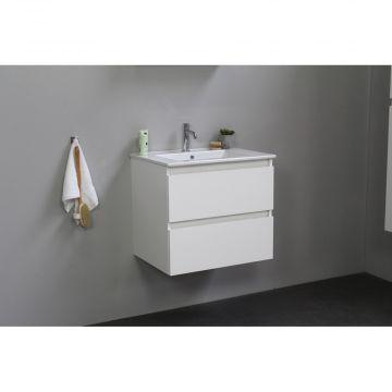Sub Online flatpack onderkast met porseleinen wastafel 1 kraangat 60x55x46cm, hoogglans wit