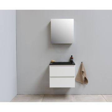 Sub Online flatpack onderkast met acryl wastafel slate structuur zonder kraangat met 1 deurs spiegelkast grijs 60x55x46cm, hoogglans wit