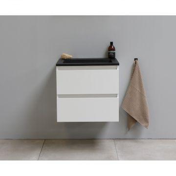 Sub Online flatpack onderkast met acryl wastafel slate structuur zonder kraangat 60x55x46cm, hoogglans wit