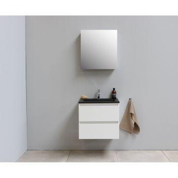 Sub Online flatpack onderkast met acryl wastafel slate structuur 1 kraangat met 1 deurs spiegelkast grijs 60x55x46cm, hoogglans wit