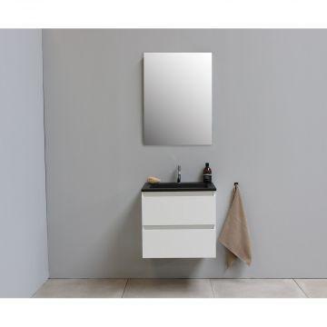 Sub Online flatpack onderkast met acryl wastafel slate structuur 1 kraangat met spiegel 60x55x46cm, hoogglans wit