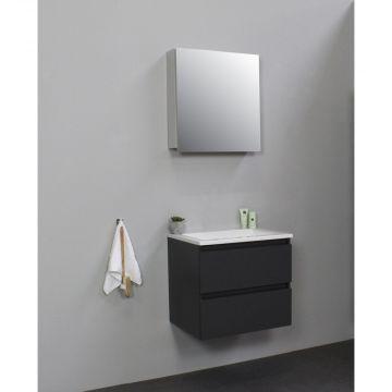 Sub Online flatpack onderkast met acryl wastafel zonder kraangat met 1 deurs spiegelkast grijs 60x55x46cm, mat antraciet
