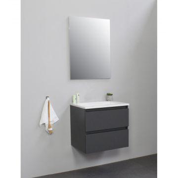 Sub Online flatpack onderkast met acryl wastafel zonder kraangat met spiegel 60x55x46cm, mat antraciet