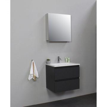 Sub Online flatpack onderkast met acryl wastafel 1 kraangat met 1 deurs spiegelkast grijs 60x55x46cm, mat antraciet