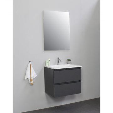 Sub Online flatpack onderkast met acryl wastafel 1 kraangat met spiegel 60x55x46cm, mat antraciet