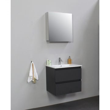 Sub Online flatpack onderkast met porseleinen wastafel 1 kraangat met 1 deurs spiegelkast grijs 60x55x46cm, mat antraciet
