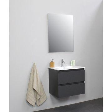Sub Online flatpack onderkast met porseleinen wastafel 1 kraangat met spiegel 60x55x46cm, mat antraciet