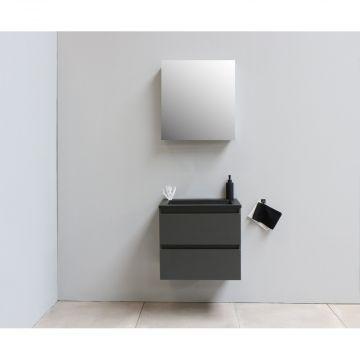 Sub Online flatpack onderkast met acryl wastafel slate structuur zonder kraangat met 1 deurs spiegelkast grijs 60x55x46cm, mat antraciet