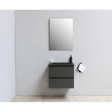 Sub Online flatpack onderkast met acryl wastafel slate structuur zonder kraangat met spiegel 60x55x46cm, mat antraciet