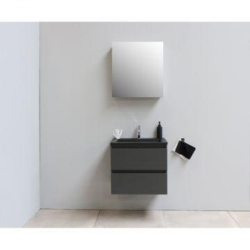 Sub Online flatpack onderkast met acryl wastafel slate structuur 1 kraangat met 1 deurs spiegelkast grijs 60x55x46cm, mat antraciet
