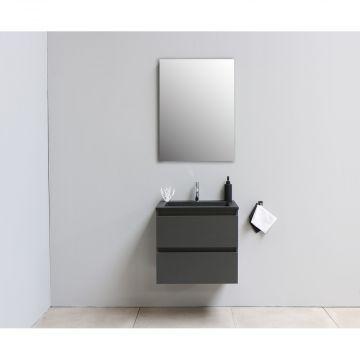 Sub Online flatpack onderkast met acryl wastafel slate structuur 1 kraangat met spiegel 60x55x46cm, mat antraciet