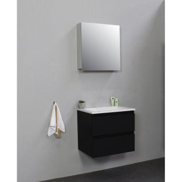 Sub Online flatpack onderkast met acryl wastafel zonder kraangat met 1 deurs spiegelkast grijs 60x55x46cm, mat zwart