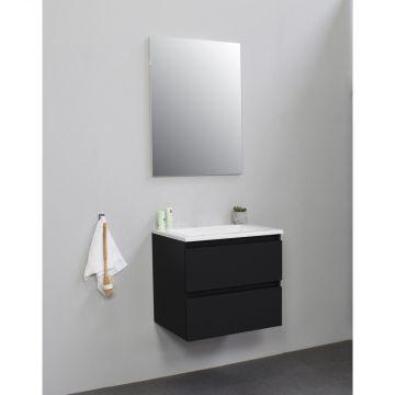 Sub Online flatpack onderkast met acryl wastafel zonder kraangat met spiegel 60x55x46cm, mat zwart