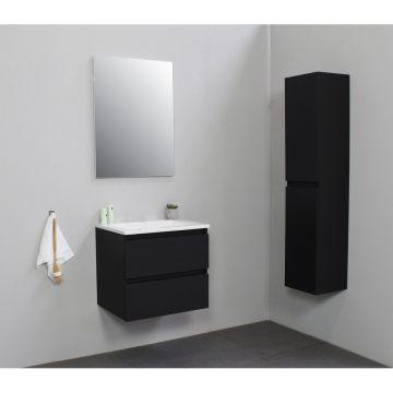 Sub Online flatpack onderkast met acryl wastafel zonder kraangat 60x55x46cm, mat zwart
