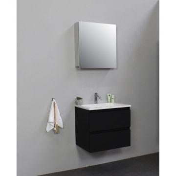Sub Online flatpack onderkast met acryl wastafel 1 kraangat met 1 deurs spiegelkast grijs 60x55x46cm, mat zwart