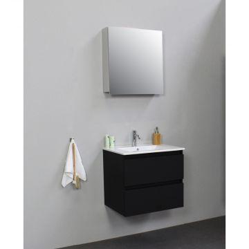 Sub Online flatpack onderkast met porseleinen wastafel 1 kraangat met 1 deurs spiegelkast grijs 60x55x46cm, mat zwart